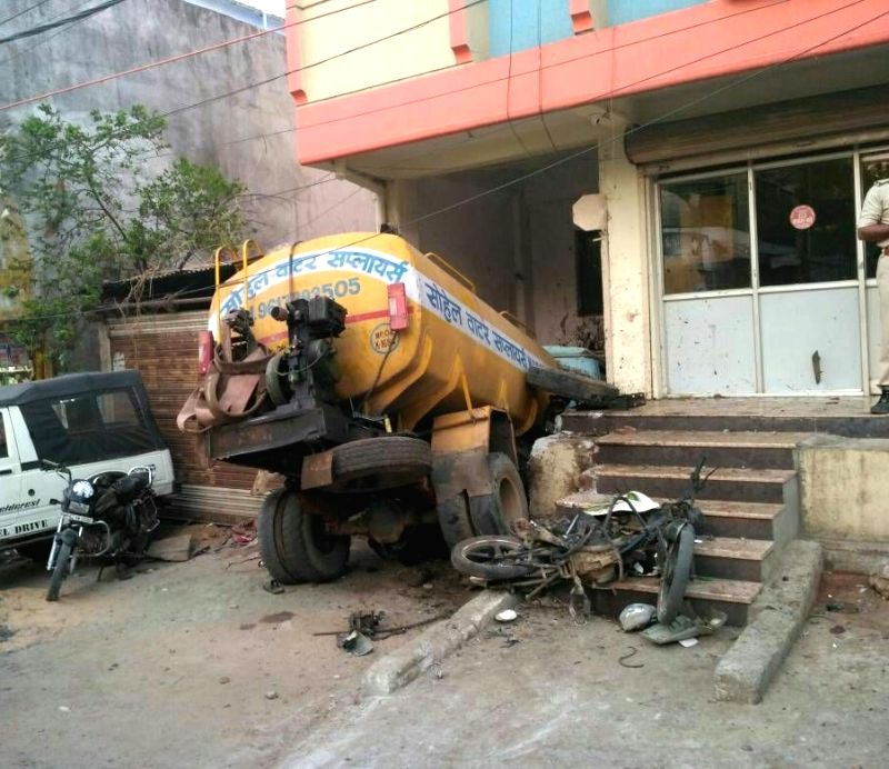 A water tanker crashes into a hospital killing two persons in Bhopal on April 25, 2017.