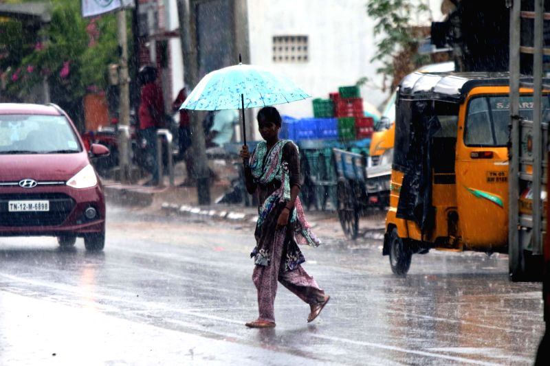 A woman shields herself with an umbrella during rains, in Chennai on June 6, 2018.