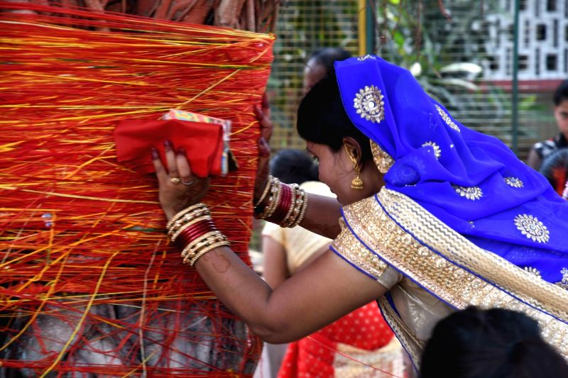 A woman worships a banyan tree on Vat Purnima in Patna on May 25, 2017.