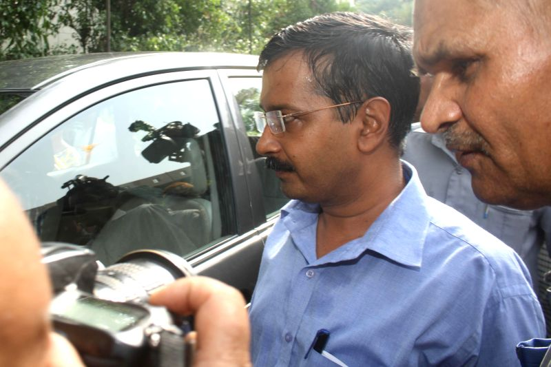 Aam Aadmi Party (AAP) leader Arvind Kejriwal arrives to attend a party legislators' meeting at Constitution club in New Delhi on June 18, 2014. - Arvind Kejriwal