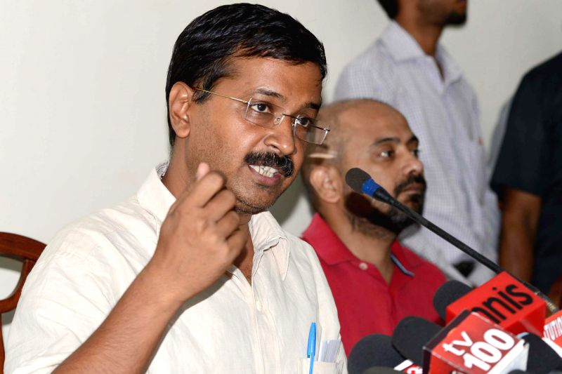 Aam Aadmi Party (AAP) leader Arvind Kejriwal addresses a press conference in New Delhi on June 25, 2014.