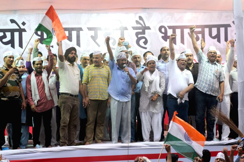 Aam Aadmi Party (AAP) leader Arvind Kejriwal and other party leaders during a rally at Jantar Mantar in New Delhi on Aug 3, 2014. - Arvind Kejriwal
