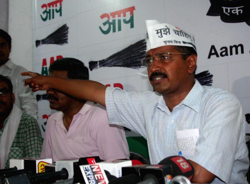 Aam Aadmi Party (AAP) leader Arvind Kejriwal during a press conference in Varanasi on May 6, 2014. - Arvind Kejriwal
