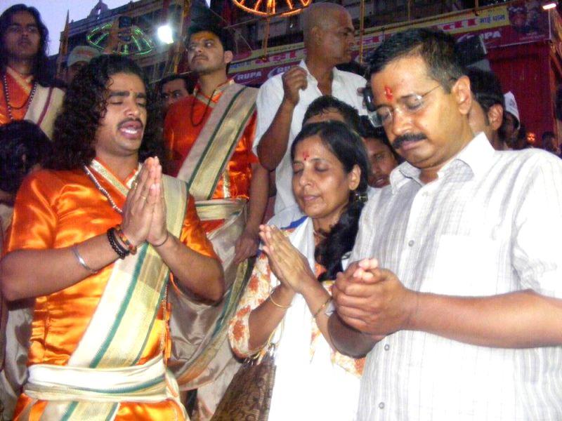 Aam Aadmi Party (AAP) leader Arvind Kejriwal during Ganga Aarti in Varanasi on  May 8, 2014.