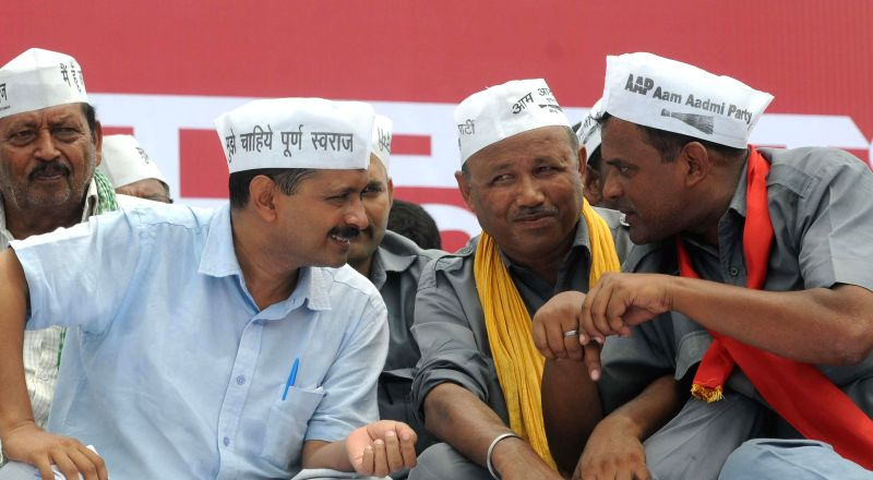 Aam Aadmi Party (AAP) leader Arvind Kejriwal during a rally organised by auto-drivers at Ramlila Maidan in New Delhi on July 31, 2014.