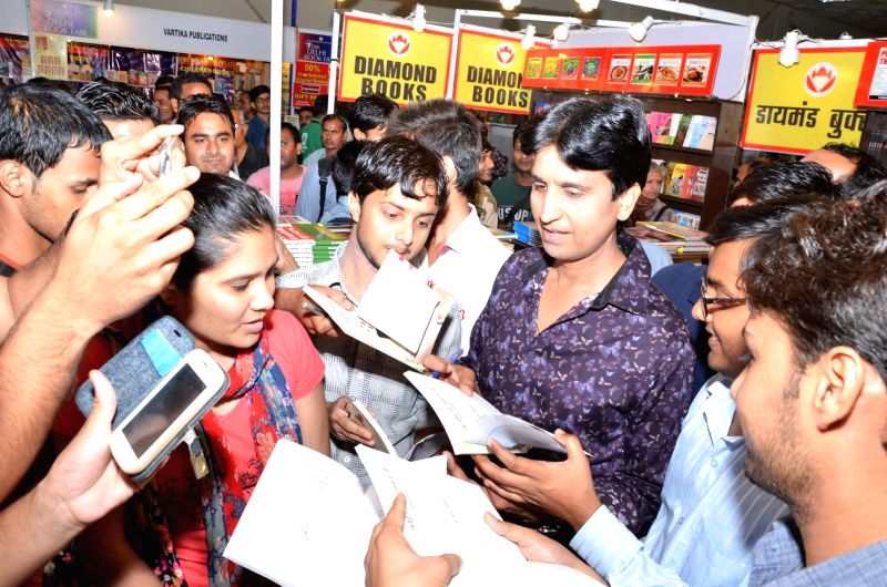 Aam Aadmi Party (AAP) leader Kumar Vishwas at 20th Delhi Book Fair in New Delhi on Aug 28, 2014.