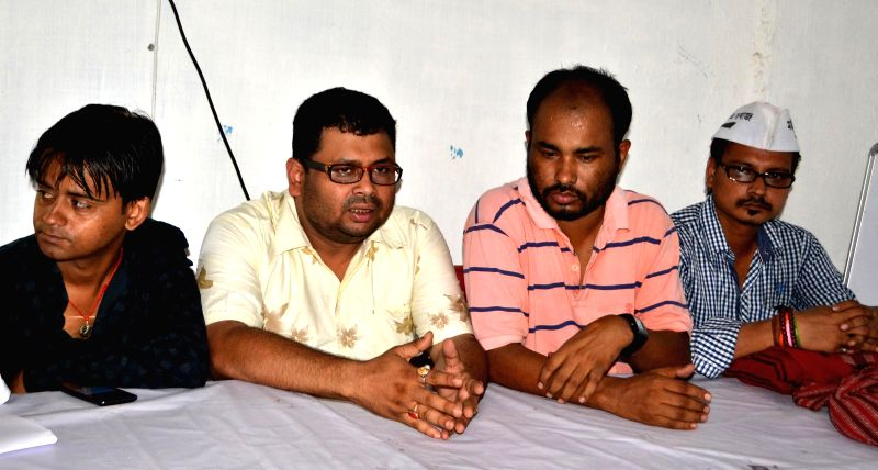 Aam Aadmi Party (AAP) leader Pranjal Bordoloi during a press conference in Guwahati on May 13, 2014.