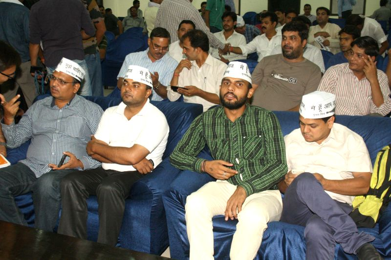 Aam Aadmi Party (AAP) legislators during a meeting at Constitution club in New Delhi on June 18, 2014.
