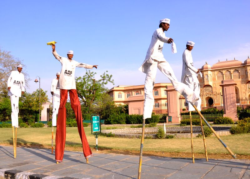 Aam Aadmi Party (AAP) supporters during an election campaign in Jaipur on April 15, 2014.