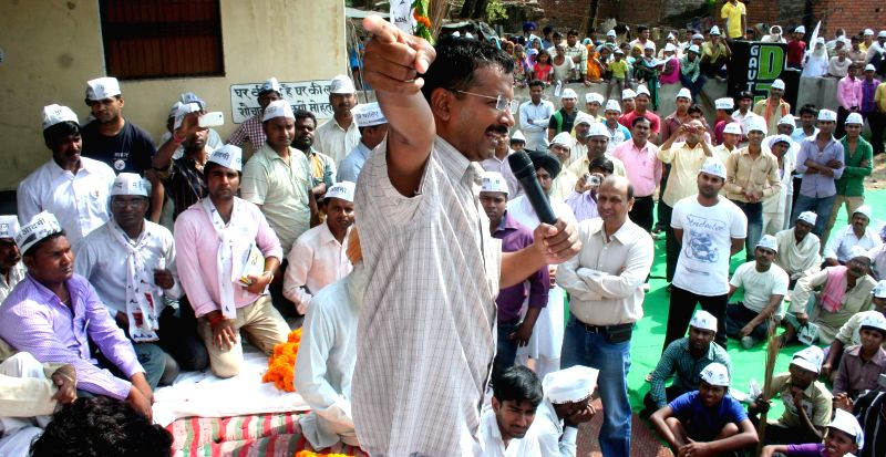 Aam Admi Party leader Arvind Kejriwal during an election campaign at a village near Varanasi on May 3, 2014.
