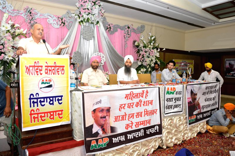 Aam Admi Party leader Manish Sisodia during a party meeting in Amritsar on June 21, 2014.