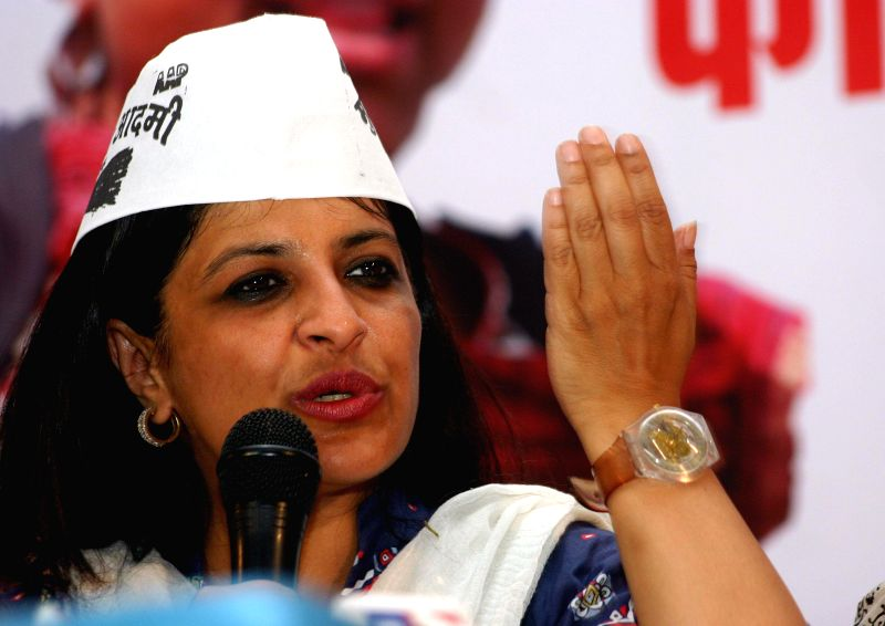 Aam Admi Party leader Shazia Ilmi addressing a press conference in Bhopal on April 12, 2014.
