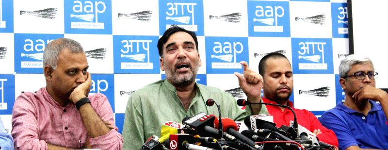 Aam Admi Party leaders Sanjay Singh, Ashutosh, Gopal Rai and other addressing a press conference in New Delhi on May 10, 2017. - Sanjay Singh and Gopal Rai