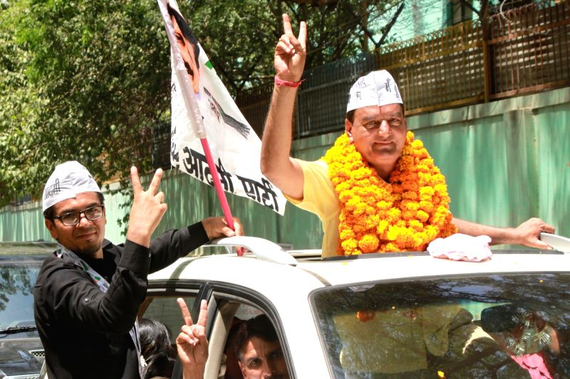 AAP leader Anil Malik who won from Nanakpura ward in the the recently concluded Municipal Corporation of Delhi (MCD) by-polls in New Delhi, on May 17, 2016. - Malik