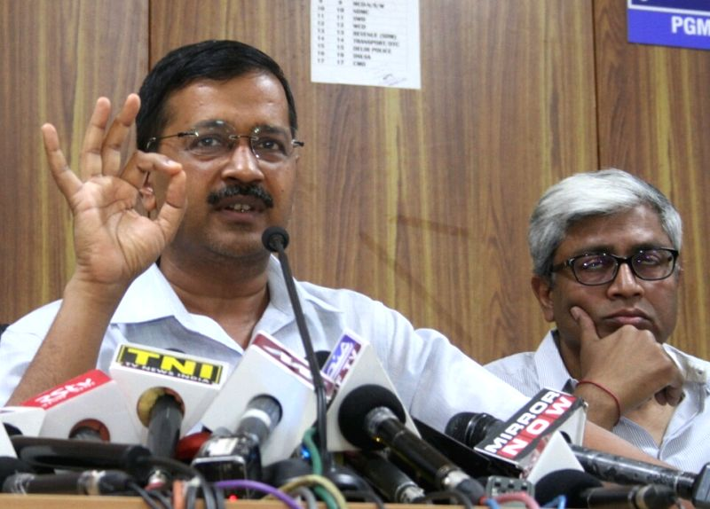 AAP leader Arvind Kejriwal addresses a press conference called to release party's manifesto for Delhi MCD Polls in New Delhi, on April 19, 2017. - Arvind Kejriwal
