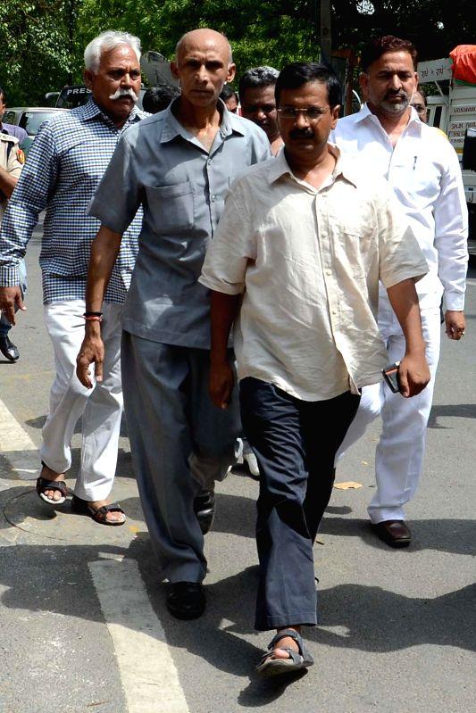AAP leader Arvind Kejriwal at LG House in New Delhi on 16 June 2014.