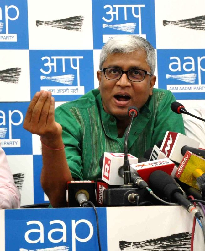 AAP leader Ashutosh addresses a press conference in New Delhi on May 2, 2017.