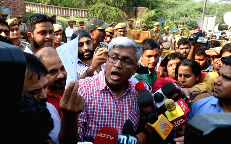 AAP leader Ashutosh talks to press at Delhi University, on May 10, 2016.