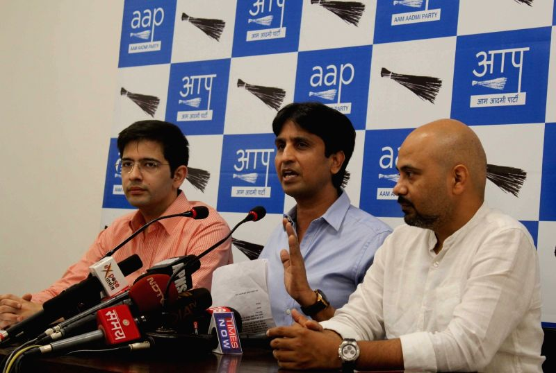 AAP leader Kumar Vishwas addresses a press conference in New Delhi, on Aug 9, 2016.