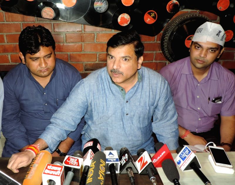 AAP leader Sanjay Singh addresses a press conference in Ghaziabad on Aug. 6, 2016. - Sanjay Singh
