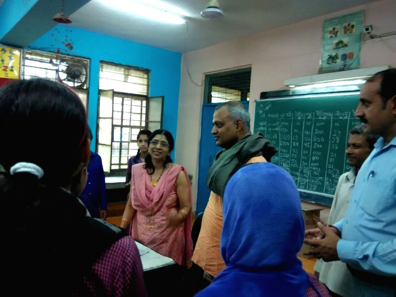 AAP leader Somnath Bharti during the first ever parent teacher meetings (PTMs) in Govt. schools in New Delhi on July 30, 2016.