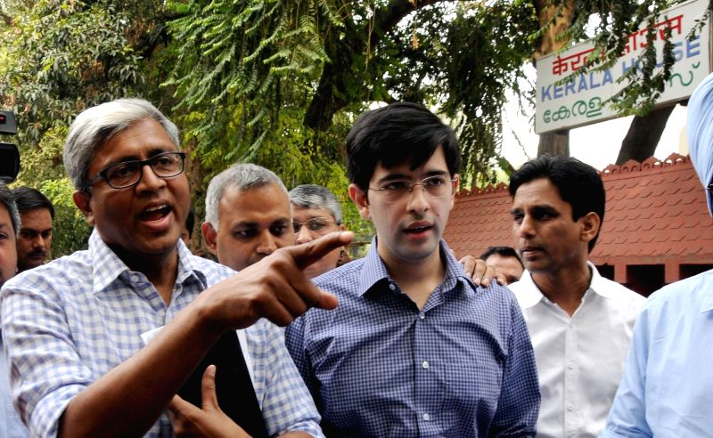 AAP leaders Ashutosh, Somnath Bharti and Raghav Chadha speak to media outside the Kerala House regarding Delhi Police officers raid on Kerala House following a complaint that cow meat was ...