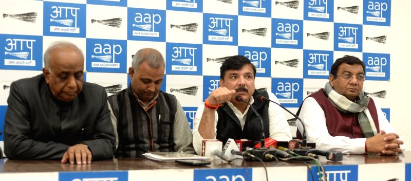 AAP leaders ND Gupta, Somnath Bharti, Sanjay Singh and Sushil Gupta during a press conference in New Delhi on Feb 2, 2018. - Sanjay Singh and Sushil Gupta