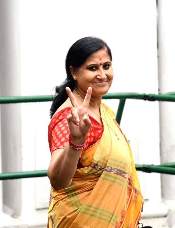 AAP legislator Bandana Kumari after casting his vote during presidential polls at Delhi Assembly in New Delhi on July 17, 2017.