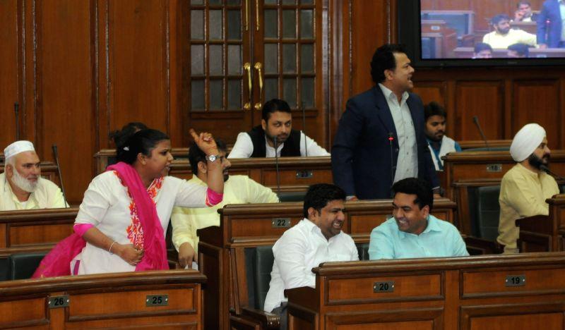 AAP legislator Rakhi Birla on Day-1 of Delhi Assembly`s winter session, in New Delhi on Nov 18, 2015.
