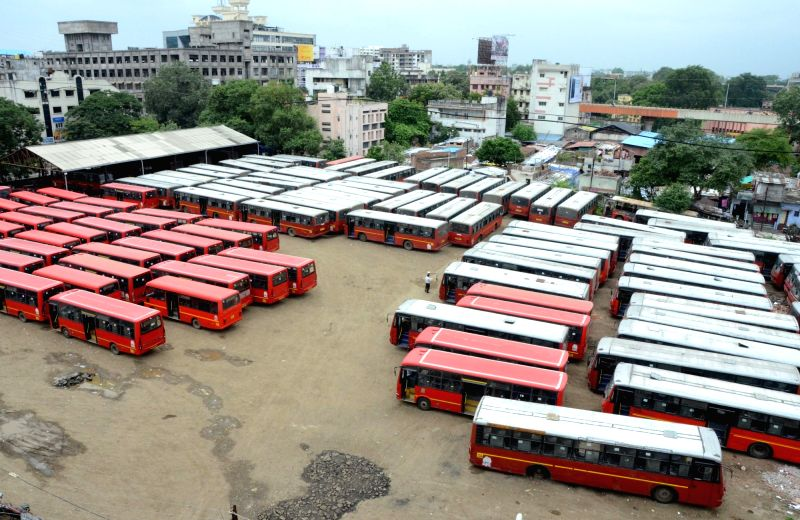 Aapli Buses remain parked at a depot as the operators go on strike to press for the clearance of their dues from Nagpur Municipal Corporation, in Nagpur on Aug 9, 2018.