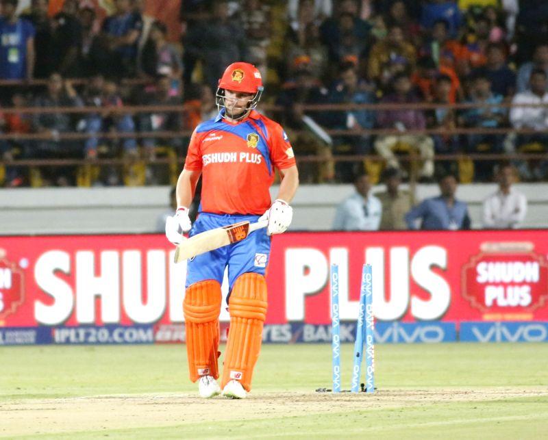 Aaron Finch of Gujarat Lions gets bowled during an IPL 2017 match between Gujarat Lions and Mumbai Indians at Saurashtra Cricket Association Stadium in Rajkot on April 29, 2017.