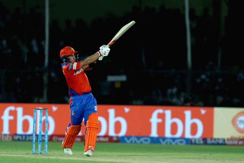 Aaron Finch of Gujarat Lions in action during an IPL 2017 match between Gujarat Lions and Delhi Daredevils at Green Park in Kanpur on May 10, 2017.