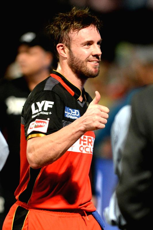 AB de Villiers of Royal Challengers Bangalore celebrate after winning the Qualifier 1 of IPL 2016 between Gujarat Lions and Royal Challengers Bangalore at M Chinnaswamy Stadium in ...