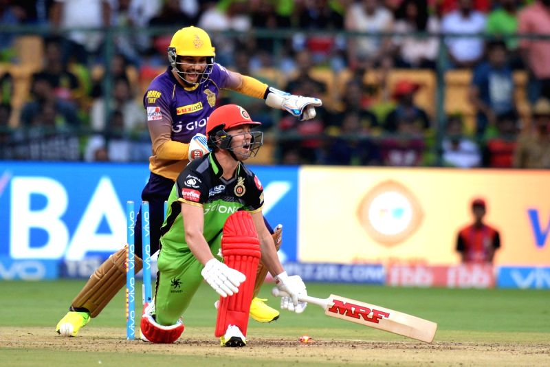 Ab de Villiers of Royal Challengers Bangalore gets dismissed during an IPL 2017 match between Royal Challengers Bangalore and Kolkata Knight Riders at M Chinnaswamy Stadium in Bengaluru on ...