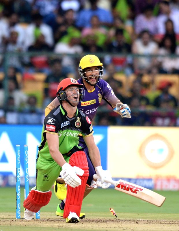 Ab de Villiers of Royal Challengers Bangalore reacts after getting dismissed during an IPL 2017 match between Royal Challengers Bangalore and Kolkata Knight Riders at M Chinnaswamy Stadium ...