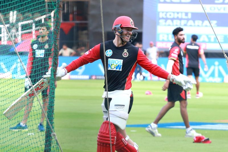 AB de Villiers of Royal Challengers Bangalore during a practice session at M. Chinnaswamy Stadium in Bengaluru on April 12, 2018.