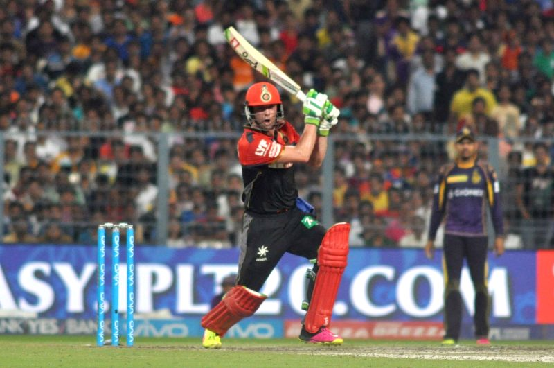 AB de Villiers of Royal Challengers Bangalore in action during an IPL match between Kolkata Knight Riders and Royal Challengers Bangalore in Kolkata, on May 16, 2016.