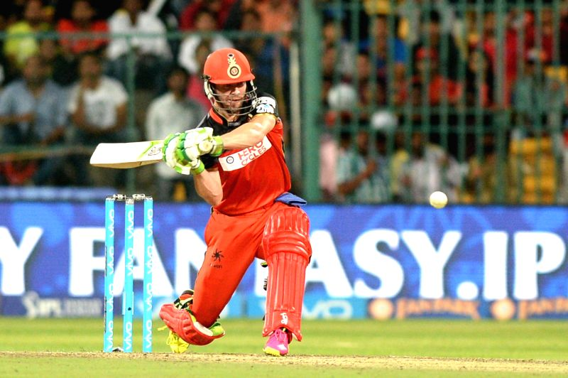 AB de Villiers of Royal Challengers Bangalore in action during qualifier 1 of IPL 2016 between Gujarat Lions and Royal Challengers Bangalore at M Chinnaswamy Stadium in Bengaluru on May ...