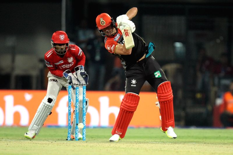 AB de Villiers of Royal Challengers Bangalore in action during an IPL 2017 match between Kings XI Punjab and Royal Challengers Bangalore at Holkar Cricket Stadium in Indore on April 10, 2017.