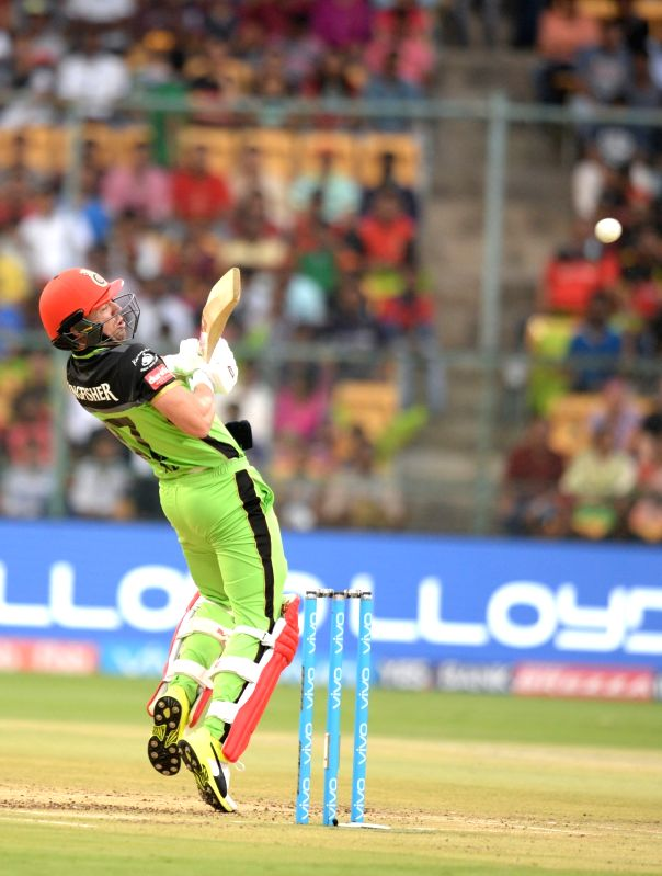 Ab de Villiers of Royal Challengers Bangalore in action during an IPL 2017 match between Royal Challengers Bangalore and Kolkata Knight Riders at M Chinnaswamy Stadium in Bengaluru on May ...