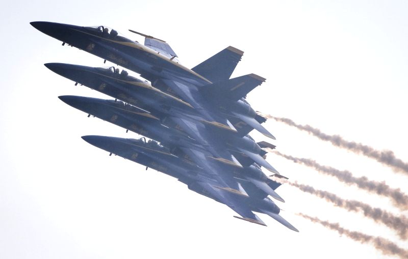 ABBOTSFORD, Aug. 11, 2018 - U.S. Navy's Blue Angels aerobatic team performs during the 56th Abbotsford International Airshow in Abbotsford, Canada, Aug. 10, 2018. The Abbotsford International Airshow ...