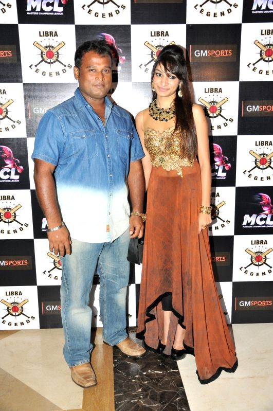 Abey Kuruvilla with with Pooja Jhunjhunwala ( Popcorn Sports & Entertainment Pvt. Ltd.) at the launch of Libra Legends Masters Champions League (MCL) team in Mumbai on Nov  30, 2015