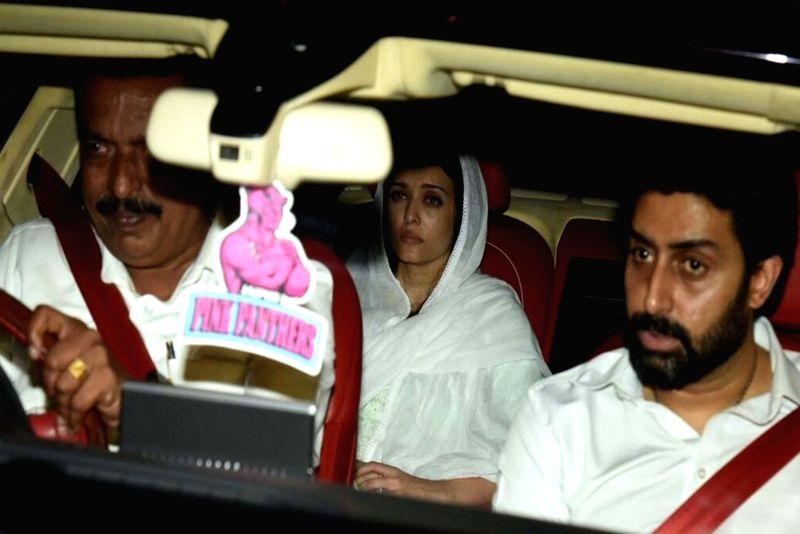 Abhishek Bachchan with Aishwarya Rai Bachchan at the funeral of Krishnaraj Rai, father of Aishwarya Rai Bachchan in Mumbai on March on 19, 2019.