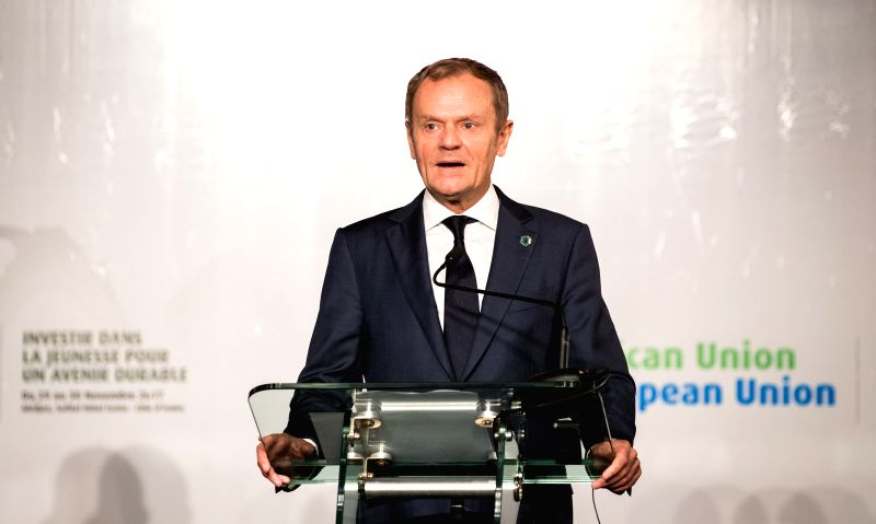 ABIDJAN, Nov. 30, 2017 - European Council President Donald Tusk speaks during the press conference after the closing of the 5th African Union-European Union Summit on Nov. 30, 2017 in Abidjan, Cote ...
