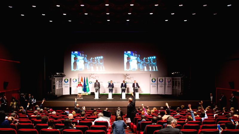 ABIDJAN, Nov. 30, 2017 - This photo taken on Nov. 30, 2017 shows the press conference after the closing of the 5th African Union-European Union Summit  in Abidjan, Cote d'Ivoire. The 5th African ...