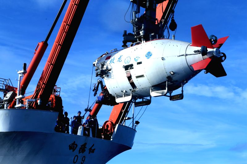 ABOARD XIANGYANGHONG 09, June 13, 2017 China's manned submersible Jiaolong is prepared to dive in the Yap Trench in the west Pacific, June 13, 2017. The dive is the final one in China's ...