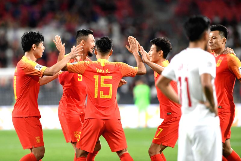 ABU DHABI, Jan. 11, 2019 - Players of China celebrate scoring during the 2019 AFC Asian Cup UAE 2019 group C match between China and the Philippines in Abu Dhabi, the United Arab Emirates (UAE), Jan. ...