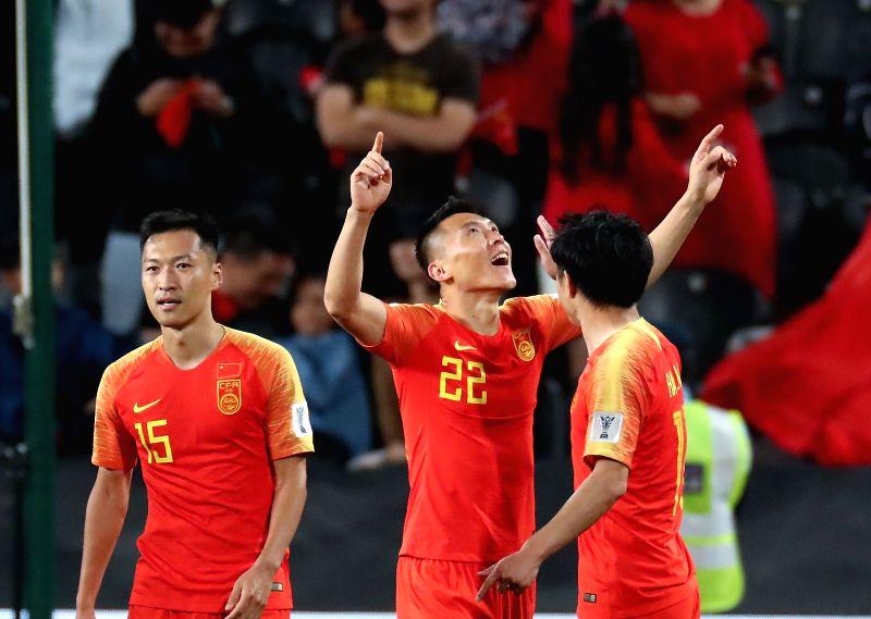 ABU DHABI, Jan. 11, 2019 - Yu Dabao (C) of China celebrates scoring during the 2019 AFC Asian Cup UAE 2019 group C match between China and the Philippines in Abu Dhabi, the United Arab Emirates ...
