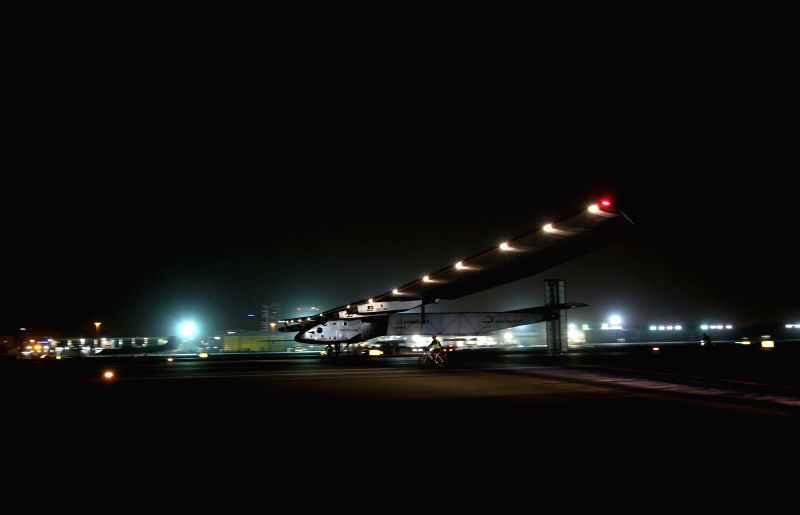 ABU DHABI, July 26, 2016 - Solar Impulse 2 (SI2) arrives at Al Bateen Executive Airport in Abu Dhabi, the United Arab Emirates (UAE), on July 26, 2016. The fully-solar energy powered plane arrived in ...