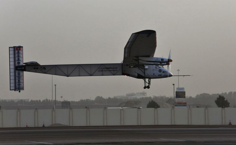 The solar-powered aircraft Solar Impulse 2 (Si2) takes off from an airport in Abu Dhabi, capital of the United Arab Emirates (UAE), March 9, 2015. Bertrand ...